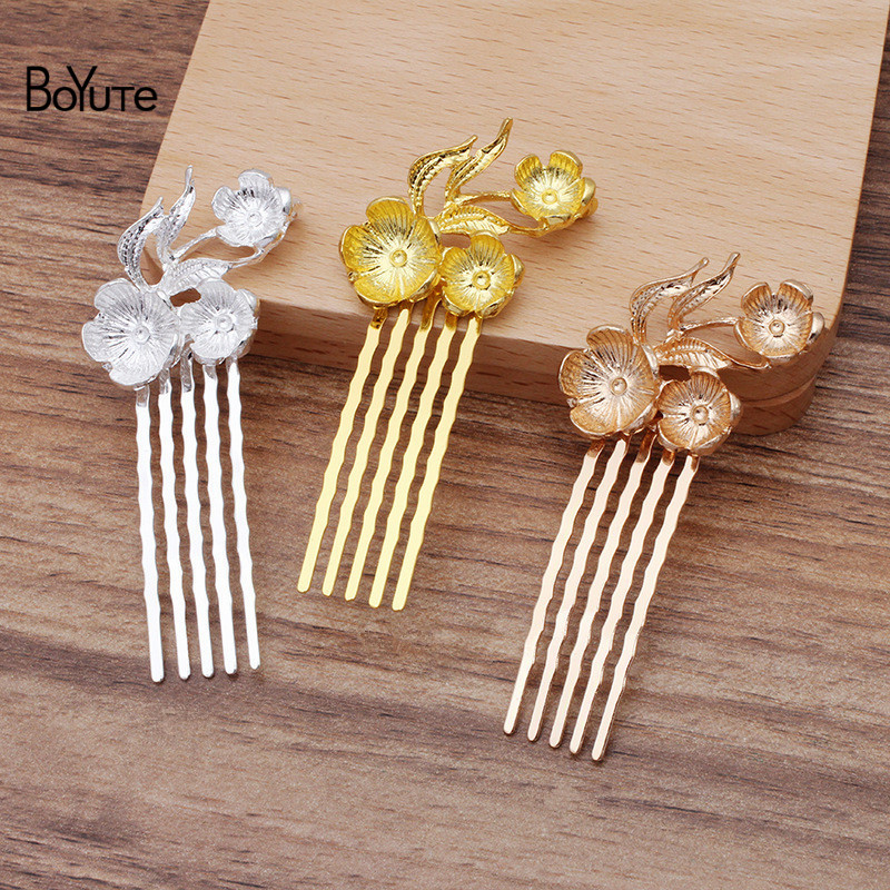 BoYuTe Wholesale (<font><b>10</b></font> Pieces/Lot) 26*35MM Metal Alloy Flower Hair Comb <font><b>5</b></font> Teeth Diy Hand Made Hair Jewelry Accessories image