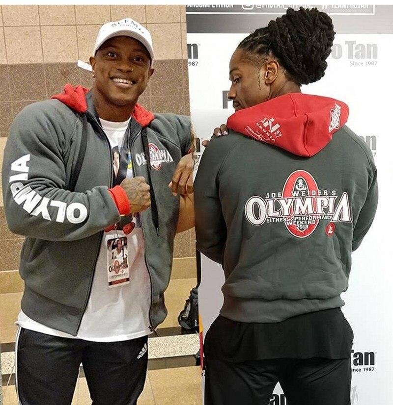 2019 New Autumn And Winter Olympics Olympia Fitness Jacket Sportswear Cotton Print Bodybuilding Hooded Zipper Shirt