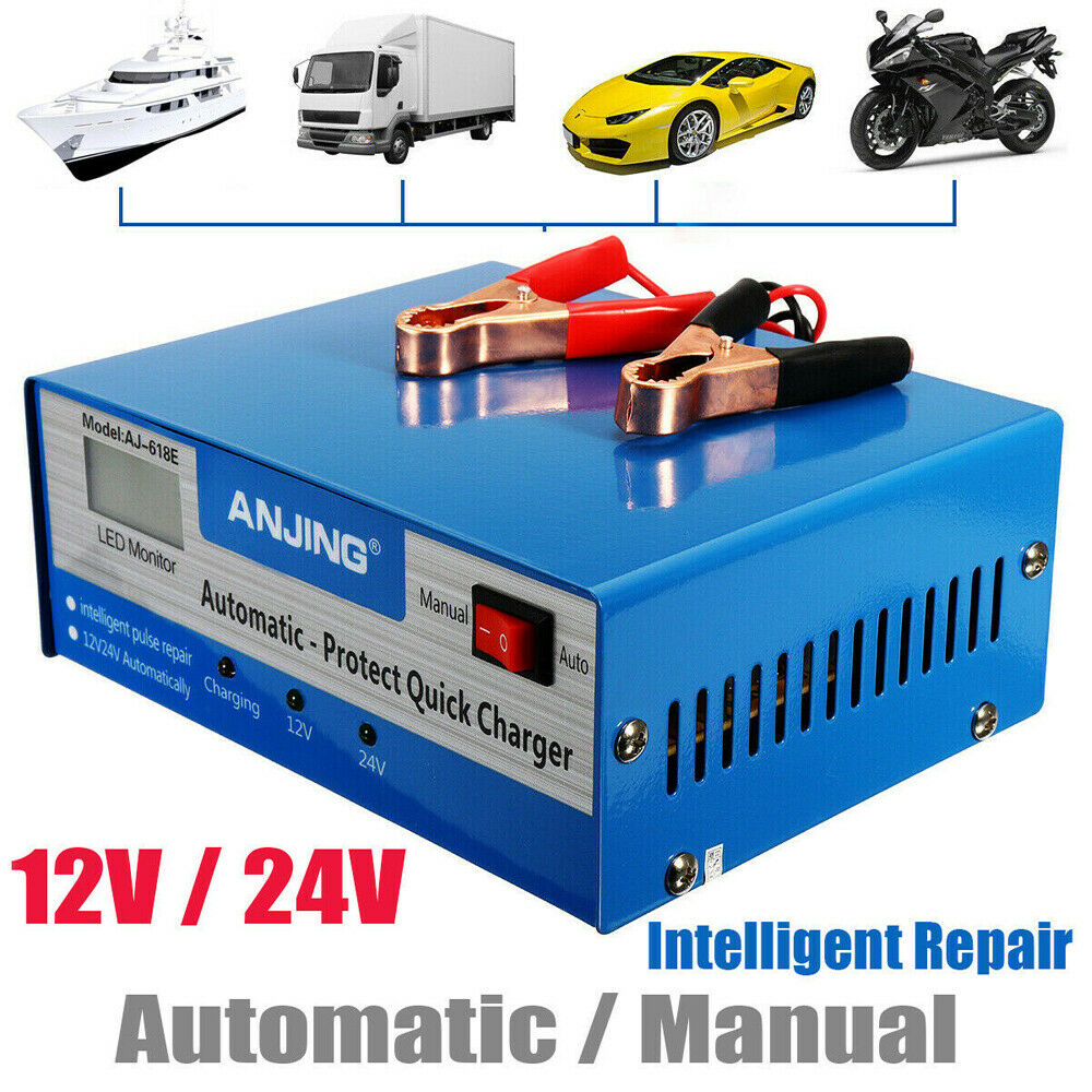 10A <font><b>12V</b></font>/24V Full Automatic Car <font><b>Battery</b></font> <font><b>Charger</b></font> 50HZ Jump Starter smart Fast Power Charging Motorcycle Intelligent Pulse Repair image