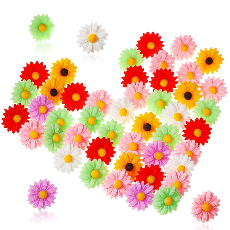 50 Pieces Flower Push Pins Decorative Daisy Push Pins Colorful Flower Thumb Tacks for Corkboard Photo Wall Memo Home
