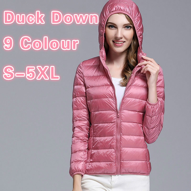 Down Jacket Hooded Winter Duck Down Jackets Women Slim Long Sleeve