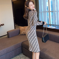 New winter han edition cultivate one's temperament jacquard bag hip render round collar knitting sweater dress