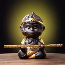 Чайный набор из китайской пурпурной глины кунг-фу, чайный набор для домашнего питомца, обезьянка, король, чайный поднос, статуи Sun Wukong, скульп...