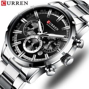 Image 1 - Часы наручные CURREN Мужские кварцевые, брендовые Роскошные спортивные полностью стальные водонепроницаемые с хронографом
