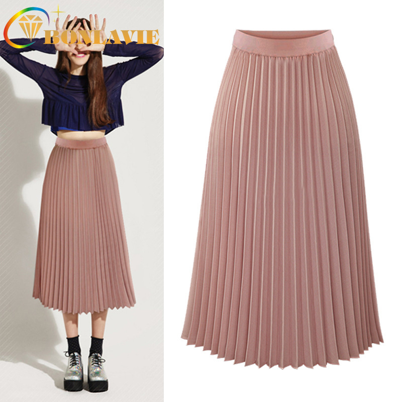 Summer Women Long Pleated Skirt 2019 Fashion New Clothing Elastic High Waist A-Line Solid Color Skirts Mid-Calf Female Skirt