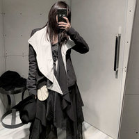 Original Design Women Jacket Harajuku Coat Women Black and White Contrast Irregular Tops Bandage Streetwear New GCC3205