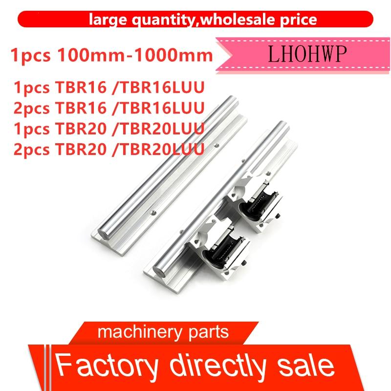 Free shipping 1 TBR16/16LUU/ TBR20/20LUU or 2 TBR16/16LUU/TBR20/20LUU-100mm-1000mm linear guide CNC router for 3D printer parts