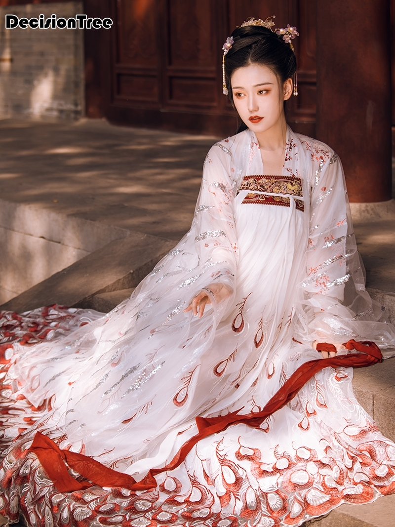 2020 News Hanfu Dress Girl Chinese Style Embroidery Lace Women Traditional Costume Folk Dance Outfit Vintage Coaplay Hanfu Tang
