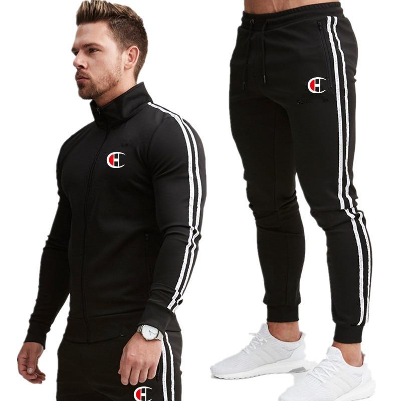 2019 New Men Fashion Zipper Long Sleeve Hoodies+Pants Set Male Tracksuit Sport Suit Men's Gyms Set Casual Sportswear Suit