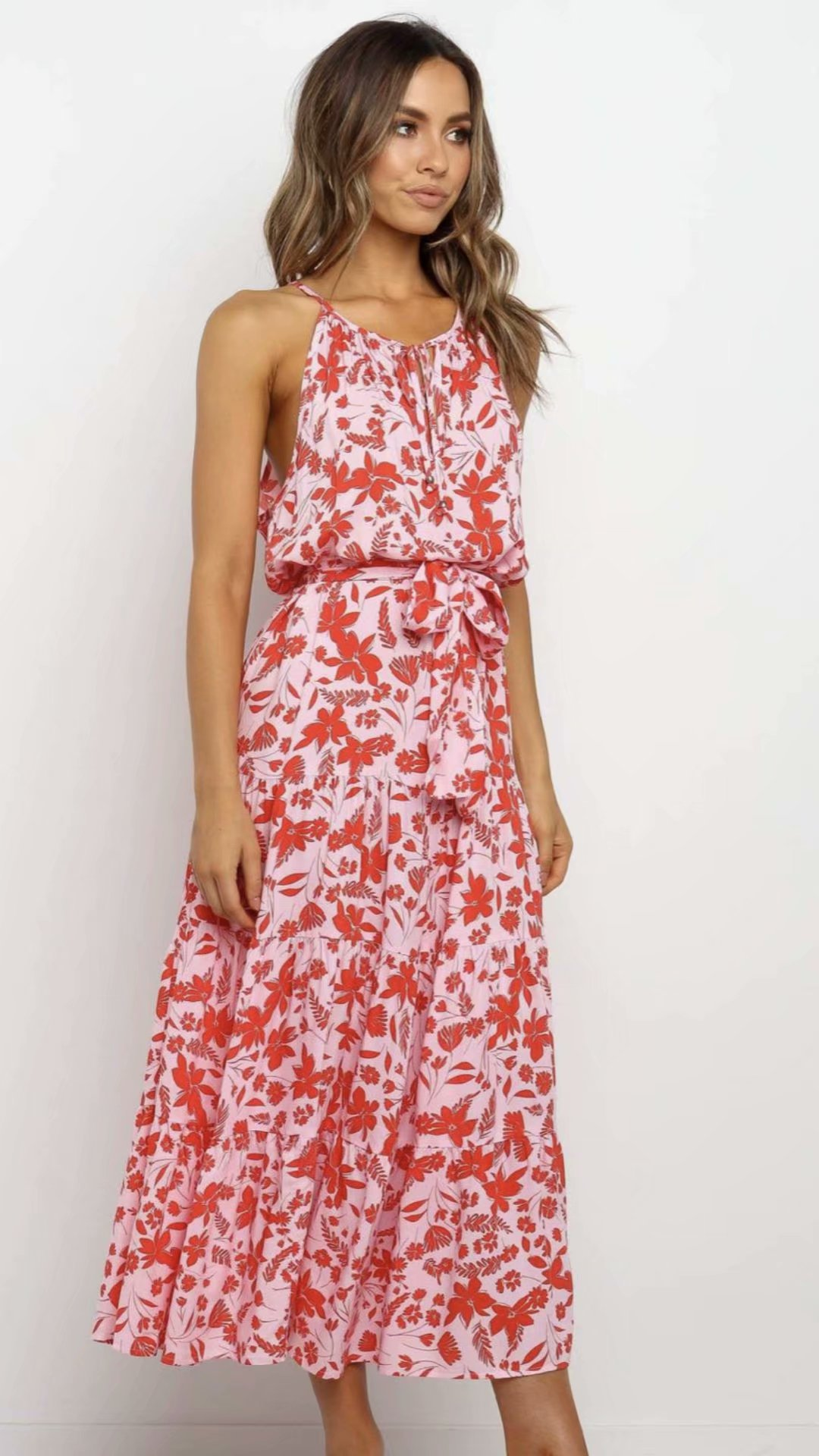 2020 New Spring Summer European Floral Printed Zaraing Women Dress Vadiming Sheining Female Halter Printed Dress S496