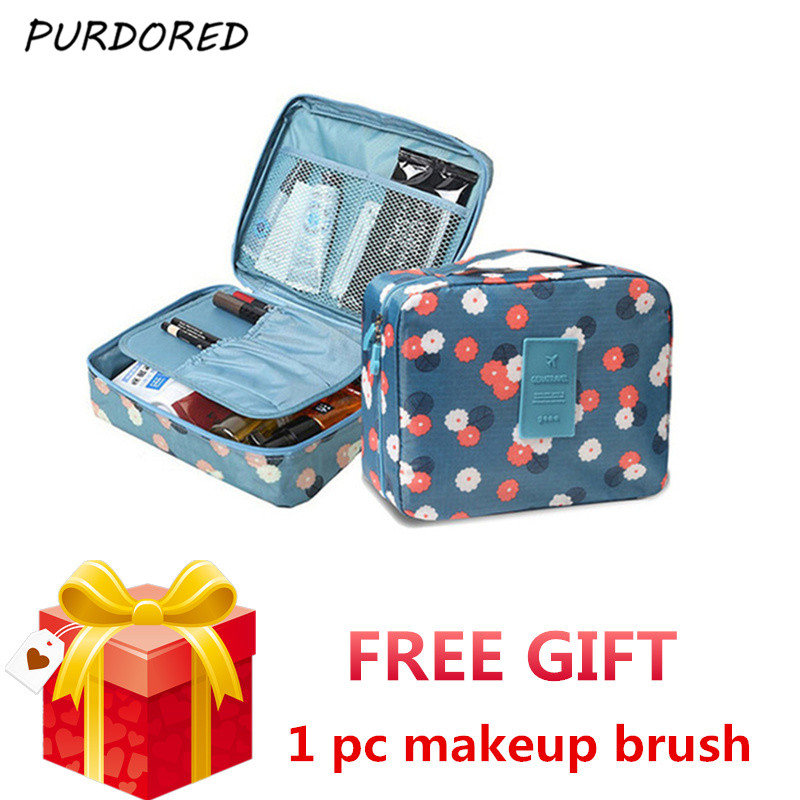 PURDORED 1 Pc Unisex Women Makeup Bag Solid Color Cosmetic Bag Travel Toiletry Kit Washing Bag Beauty Case  Neceser Maquillaje