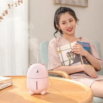 280ml Cute Pig USB Air Humidifier with LED Lights Ultrasonic Car Humidifiers Mist Maker Mini Office Cartoon Air Purifier lovely cute mini bucket shape usb humidifier led night light home office car humidifiers mist maker air purifier