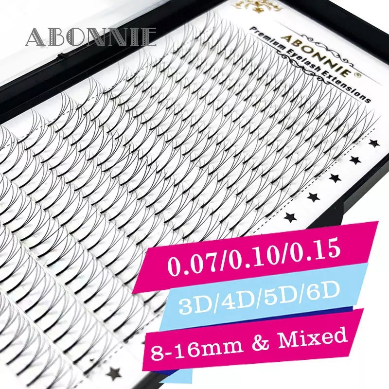 Abonnie volume 3D/4D/5D/6D 0.07-0.15 eyelash extensions 100% handmade synthetic hair russian volume lashes premade fans