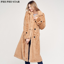 Phi Star Brand Fashion long coat Women Faux fur silk lining camel double breasted female jacket