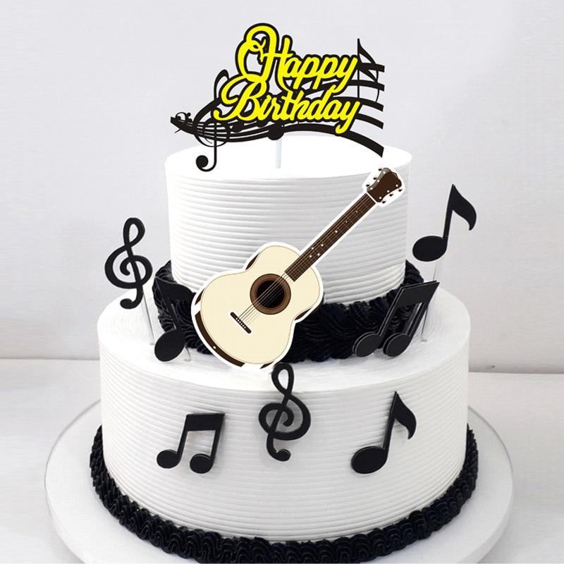 Marvelous 1Set Musical Note Happy Birthday Cartoon Cake Topper Cupcake Flag Funny Birthday Cards Online Ioscodamsfinfo