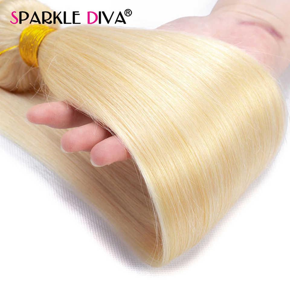 613 Blonde Menschliches Haar Bundles Brasilianische Haarwebart Bundles Gerade 613 Honig Blonde Menschenhaar-verlängerung 30 32 zoll Remy haar