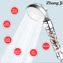 ZhangJi-Cabezal de ducha de alta presión ajustable, 3 modos, filtro reemplazable de turmalina, interruptor de ahorro de agua para ducha de SPA