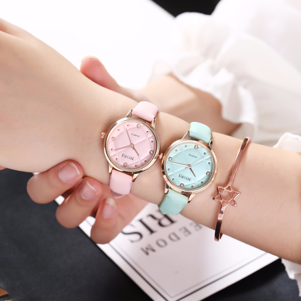 Hot Fashion Women Leather Watch Casual Luxury Ladies Quartz Analog Female Watches MEIBO Clock Dropshipping