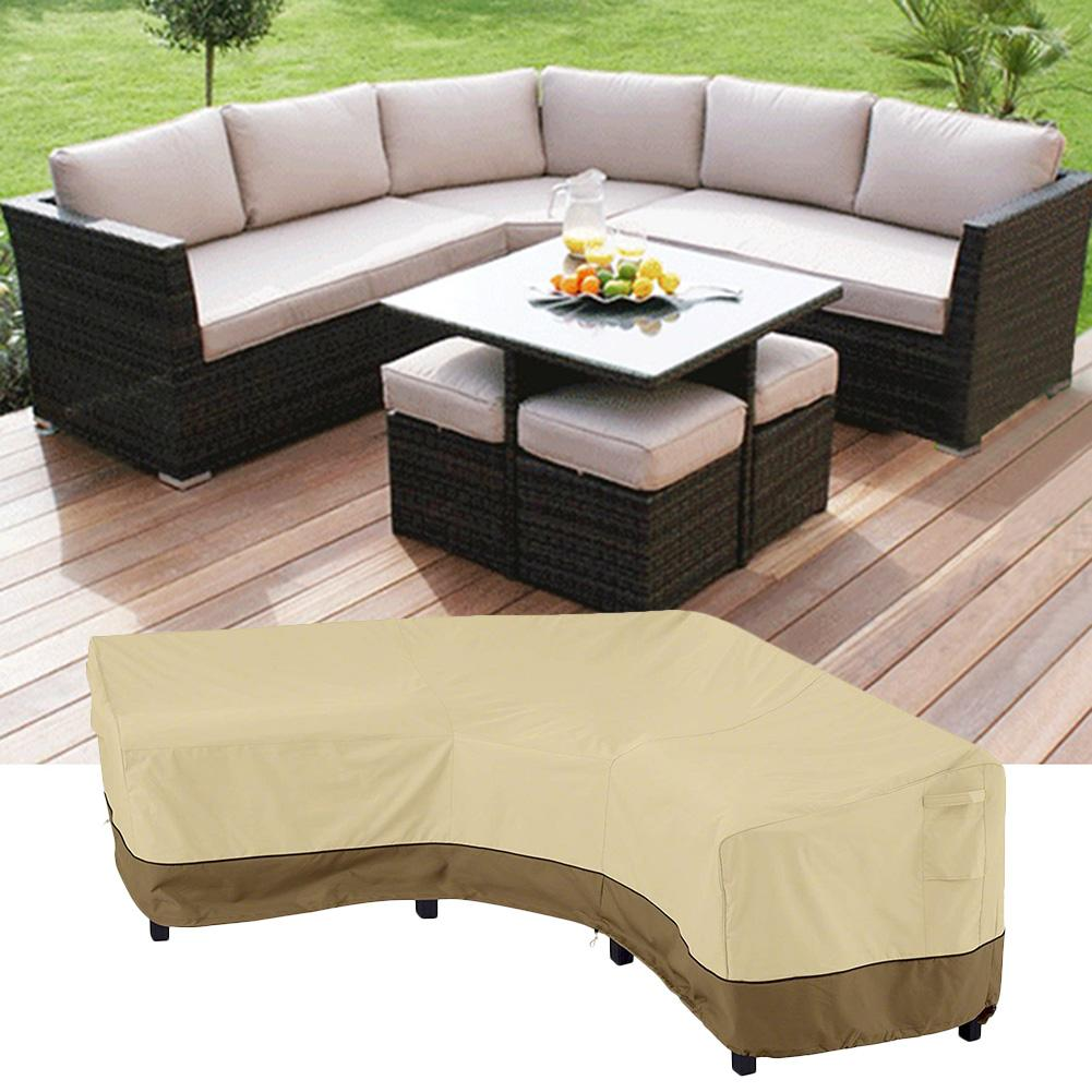 YORKING 2PCS Waterproof Sofa Protective Cover Outdoor Garden Corner Furniture Cover Furniture Corner Rattan Sofa Cover Windproof L-Shaped And Rectangular Garden Furniture Protective Cover
