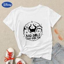 Disney branco t camisa maleficent menina má tem mais divertido roupas estéticas marca manga curta 90s moda europeu hipster