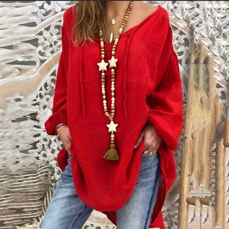 2020 nuove Donne Sexy Scollo A V Sciolto Camicetta di Cotone Della Camicia 2020 Autunno Inverno Manica Lunga di Colore Giallo Rosso Camicette Magliette E Camicette Plus formato 5XL