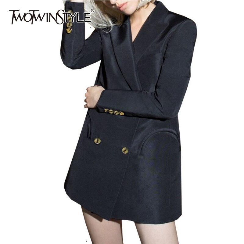 TWOTWINSTYLE Black Blazer For Women Notched Long Sleeve Pocket Slim Elegant Female Suit Autumn Fashion New Clothing 2019