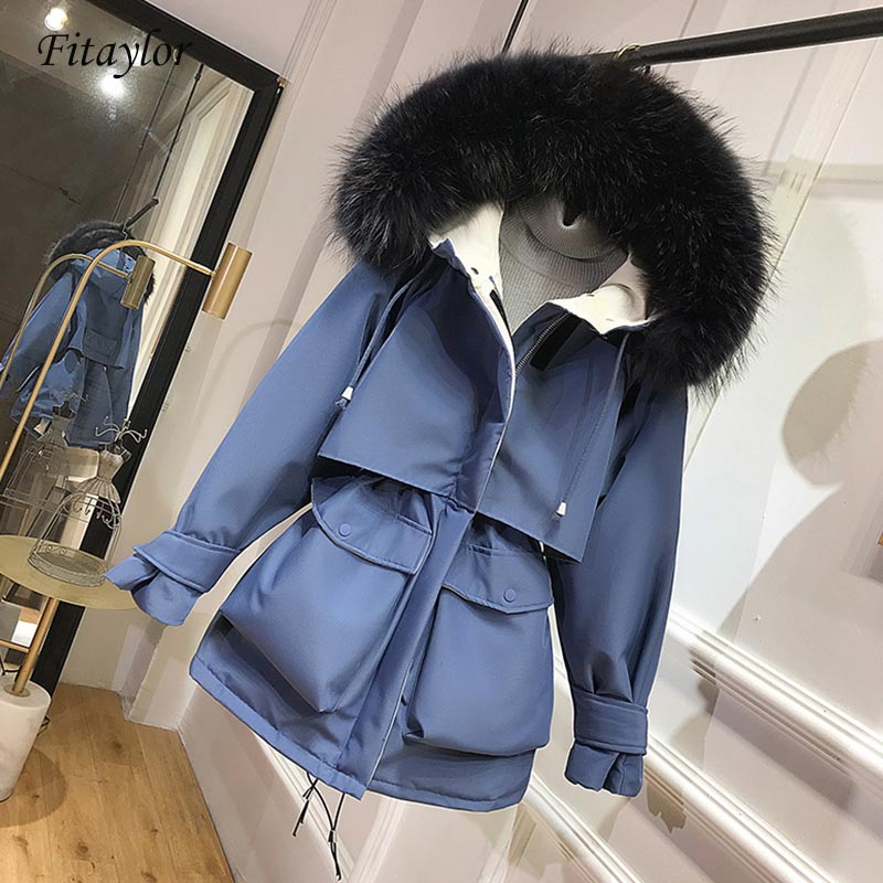 Fitaylor White Duck Down Parkas Winter Jacket Women Warm Aritificial Fur Coat Female Hooded Sash Tie Up Down Oversize