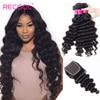 Recool Hair Loose głęboka fala wiązki z zamknięciem 5x5 6x6 koronkowe włosy brazylijskie Remy wyplata wiązki ludzkich włosów z zamknięciem