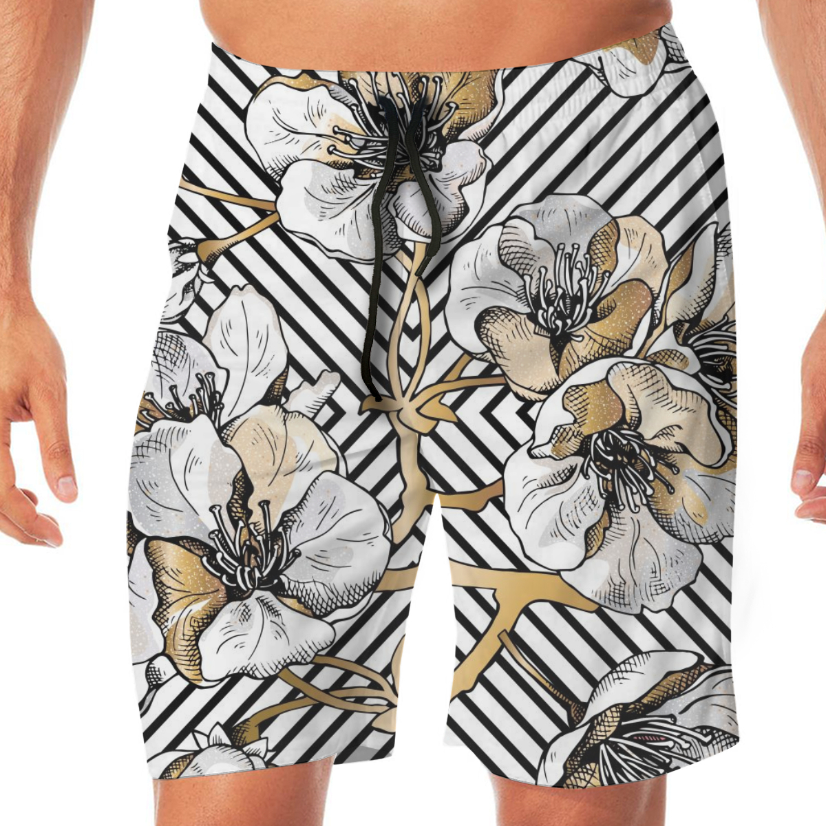 Summer Gold Flowers Cherry On A Black Geometric Background Men Novelty Gay Funny Lounge Pants Beachwear