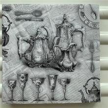 デコパージュ紙ナプキンエレガントなティッシュヴィンテージタオル黒グレー宮殿ティーポットカップバースデーウェディングパーティーホーム美しい装飾