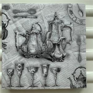 Image 1 - Decoupage serwetki papierowe elegancki tkanki w stylu vintage ręcznik czarny szary pałac z dzbankiem do herbaty i filiżankami urodziny wesele strona główna piękny wystrój