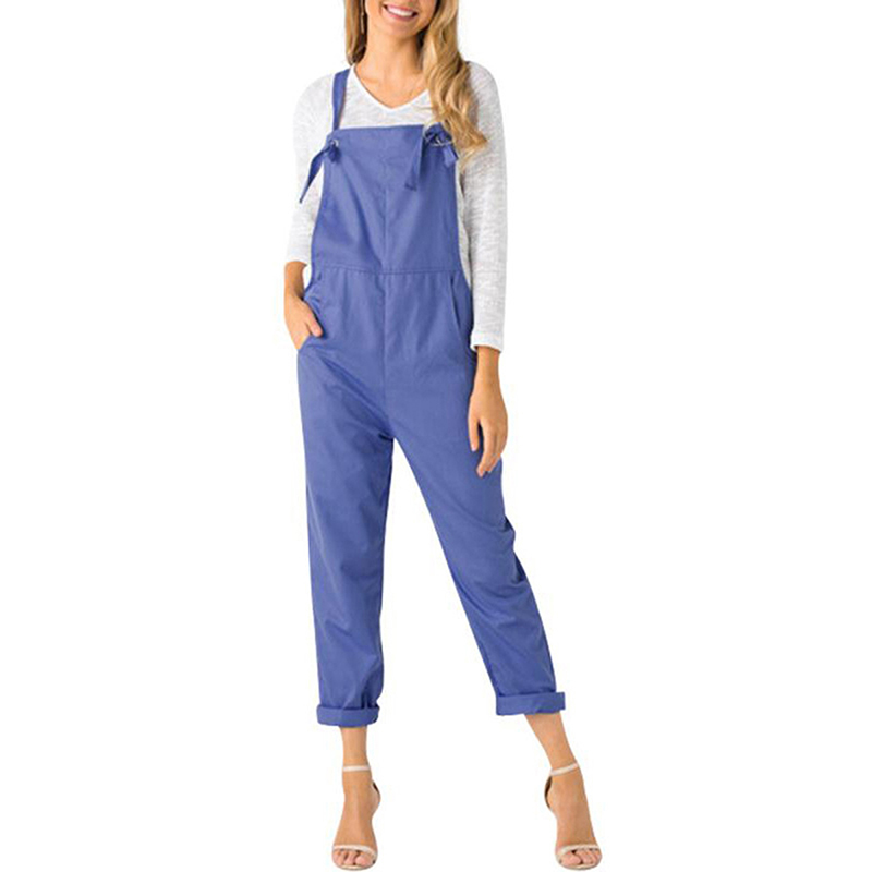 Harajuku Women's Casual Loose Solid Jumpsuit Romper Long Trousers Playsuit Strap Pocket Harem Trousers Overalls