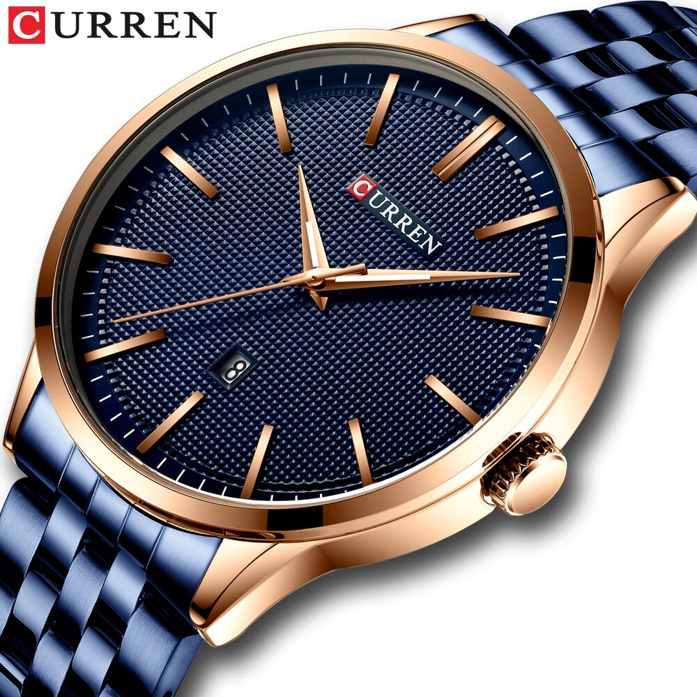 Fashion Quartz Watches For Men CURREN New Men's Watch Stainless Steel Band Clock Male Blue Wristwatch Causal Business Watch
