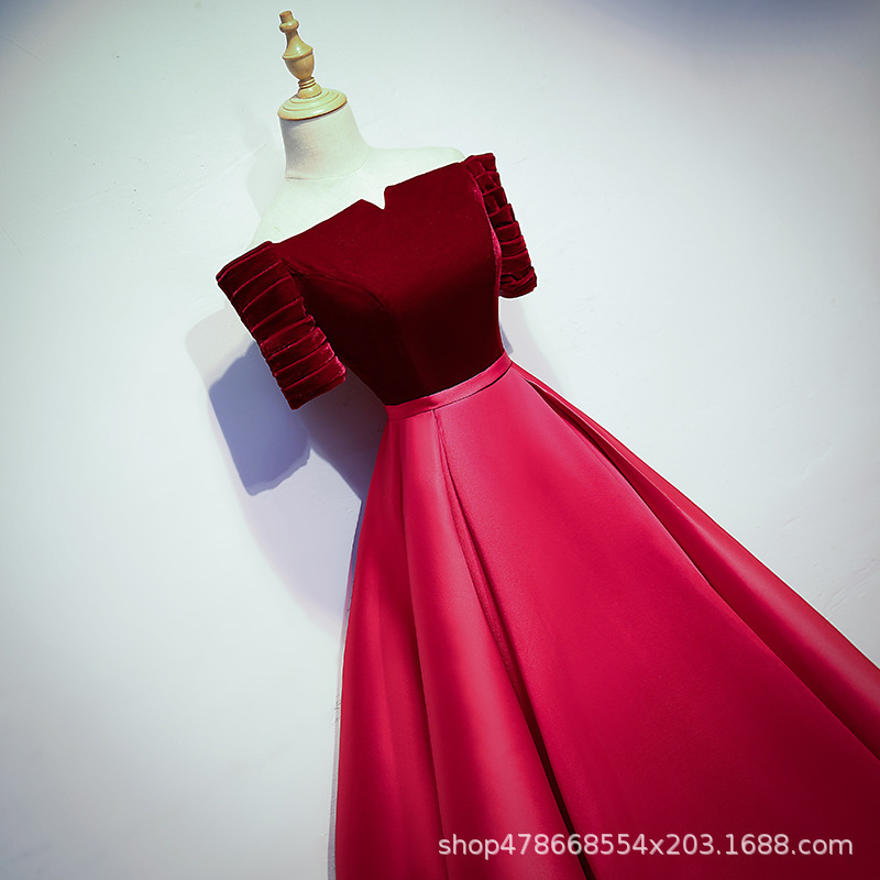 2020 Real Satin Cocktail Dress Vestido Cocktail Gengli Suzhou 2020 New Host Dress A Word Shoulder Bride Take Party Female Toast