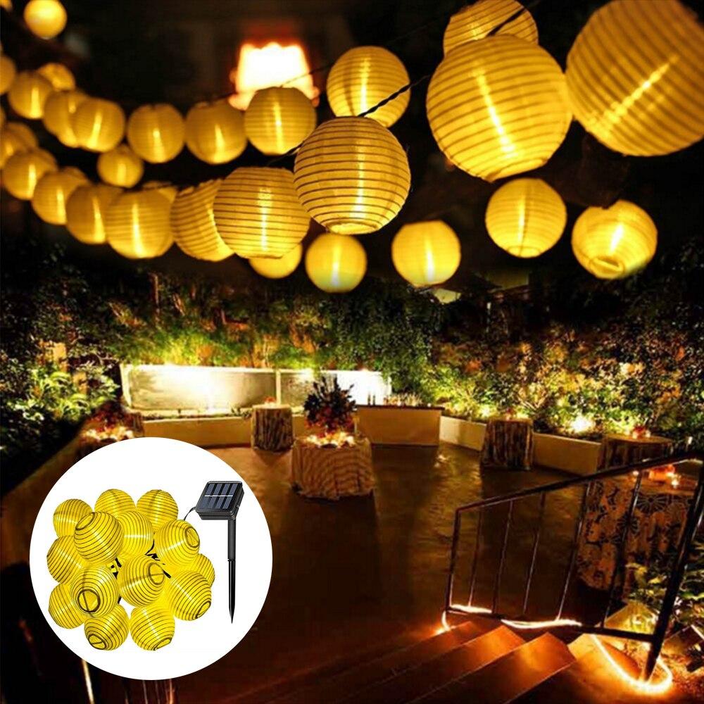Silver Round Mini Chinese Paper Lantern 110-220V Fairy Lights 20 Lanterns