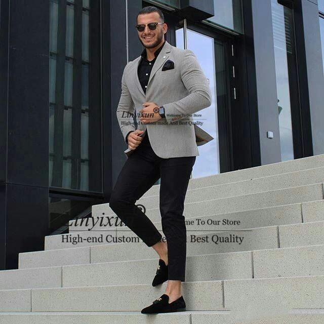 Classy Grey Men Business Suits for Groom Tuxedo 2Piece Outfit Slim Fit Terno Masculino Man Attire Groomsmen Blazers Costume Homm
