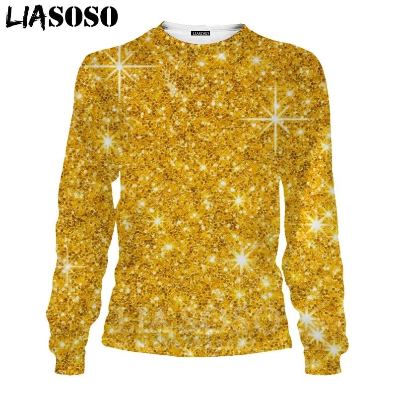LIASOSO 3D Print Gold Sweatshirt Autumn Long Sleeve Glow Diamond Men`s Shirt Anime Women Fashion Tops O Neck Men Clothing D017-7 (3)