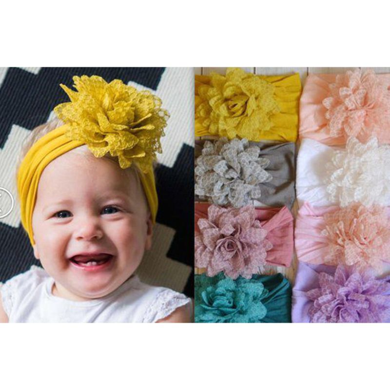 Baby Flower Wide Nylon Headband Head wraps Elastic Kids Turban Hair Accessories