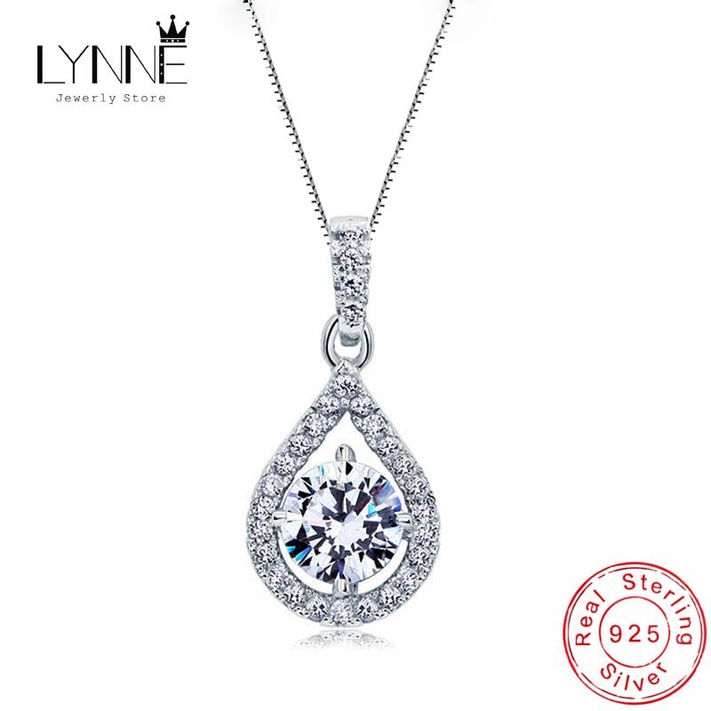 Newest 925 Sterling Silver AAA Zircon Angel Tears Water Drop Pendant Necklace Rhinestone CZ Women Wedding Necklaces Jewelry Gift