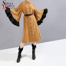 Nouveau 2019 femmes hiver longue droite kaki chemise Robe & ceinture Flare manches genou longueur dame mignon fête Robe Midi Robe Femme 5701