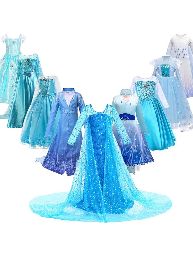 Princess Elsa Dress for Girls Kids Christmas Cosplay Snow Queen 2 Elza Anna Costume Children