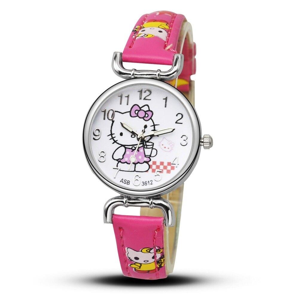 Hello Kitty Cartoon Cute Cat Children Watch Story Quartz Kids Watch Birthday Gift Anime Student Boy Girl Colorful Часы