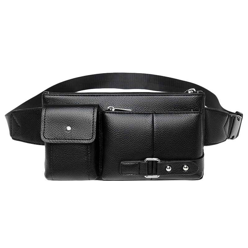 Multi-Function Men Waist Bag Many Departments Male Waist Pack Pouch Soft Leather Fanny Pack Man Belt Bag Chest Bag Black Trumpet