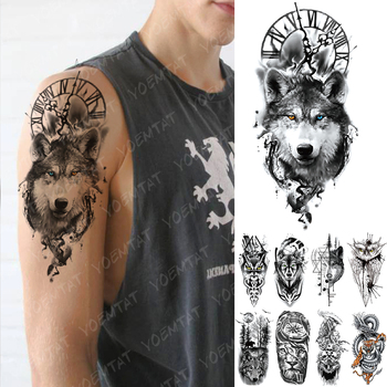 Waterproof Temporary Tattoo Sticker Clock Orange Blue Eyes Wolf Flash Tattoos Lion Compass Body Art Arm Fake Tatoo Women Men