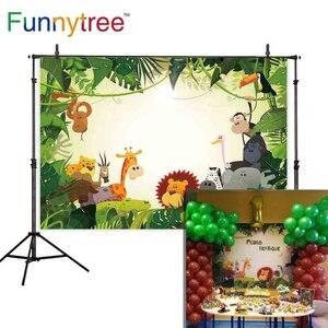 Image 2 - Funnytree Safari Hintergrund Dschungel Cartoon Tiere Geburtstag Party Dessert Tisch Decor Kinder Fotografie Hintergrund Photo