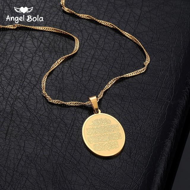 Islam muzułmanin starożytny koran naszyjniki złoty kolor arabski znak łańcuch bliskowschodni monety przedmioty, Money Maker prezent Drop Shipping