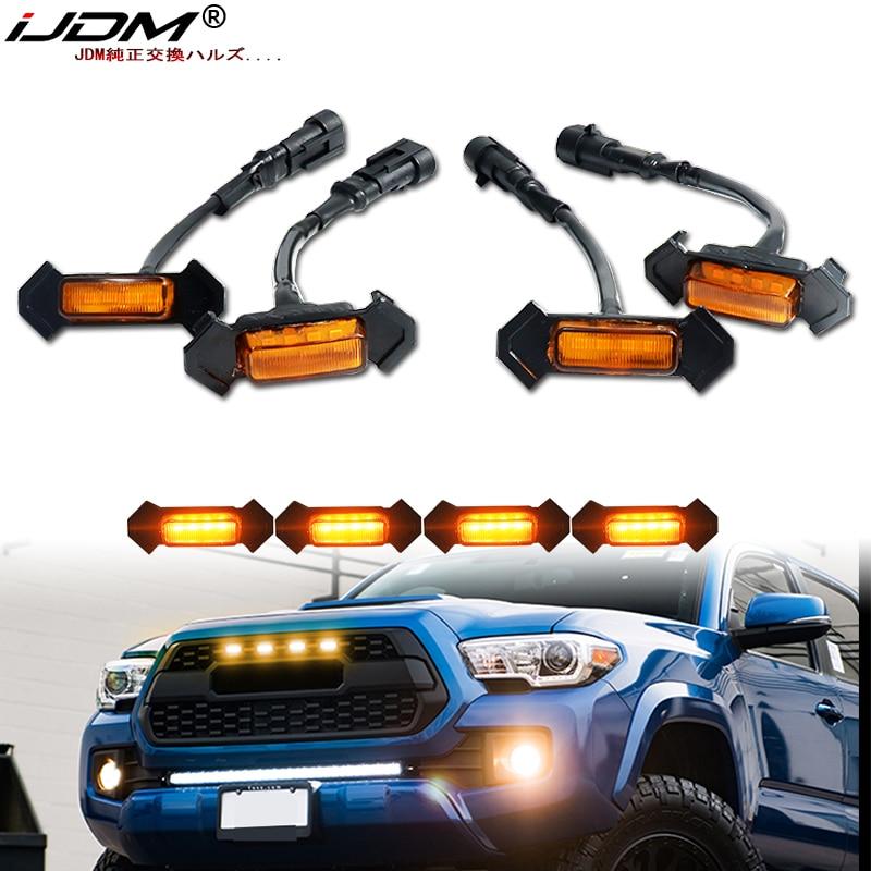 IJDM-iluminación de rejilla delantera de coche, accesorio para Toyota Tacoma w/TRD Pro, iluminación DRL, 6000K, Blanco/ámbar, 12v, 2016-2020