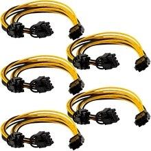 5PCS PCI-E 6-Pin to Dual 6+2-Pin Power Splitter Cable Image Card PCIE PCI Express 6Pin to Dual 8Pin Power Cable