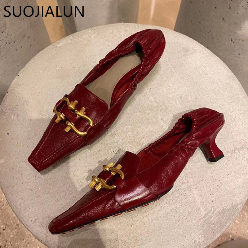 SUOJIALUN Woman Pump Fashion Brand Buckle Slip On Loafers  5cm Med Heel Point Toe Party Sandals Office Lady Dress Pump Shoes