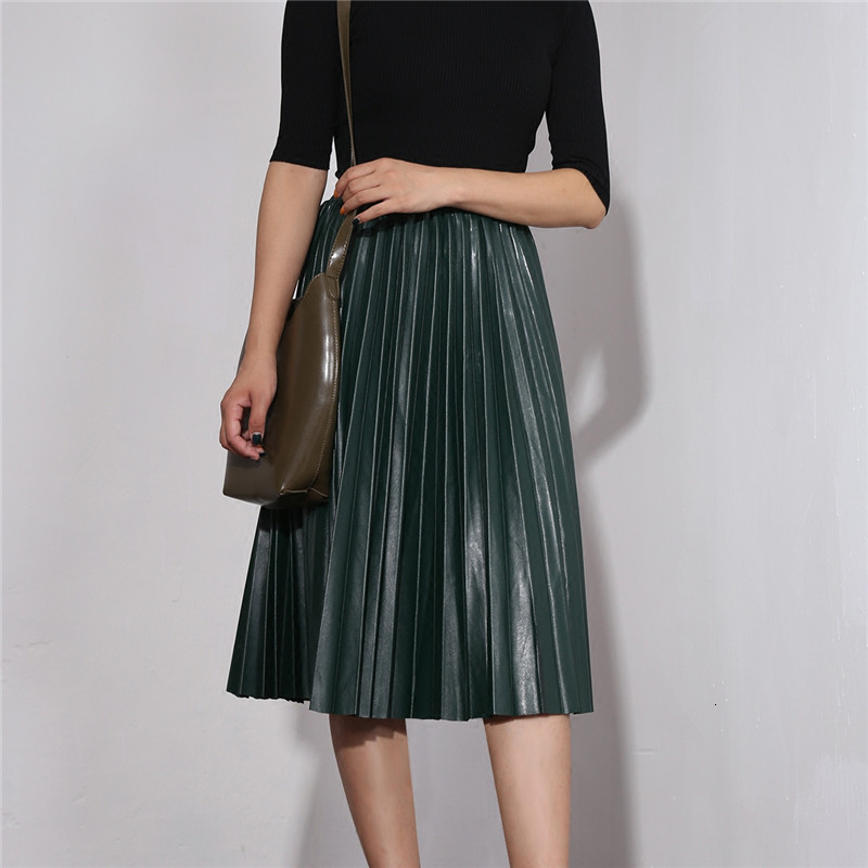 Elastic Waist A Line Pu Leather Woman Pleated Skirt Fashion Autumn Winter Female Long Skirts